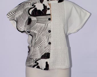Asian Inspired Hand-Printed Cotton Vest - SP17-7010