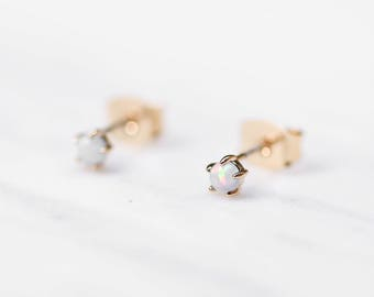 White Opal Studs / Dainty Opal Earrings / Tiny 925 Sterling Silver Earrings / Tiny Opal Earrings