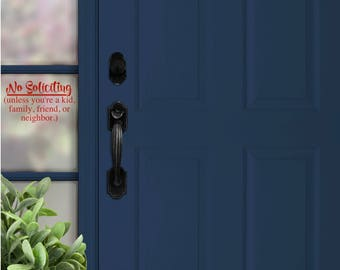 No Soliciting Decal | Front Door | No Soliciting Sign | Home Decor | Porch | Friends Family | Do Not Disturb | No Solicitors | Door Bell
