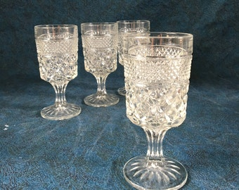 Anchor Hocking Wexford Glass Footed Water Goblet, Set of 4, Mid Century Glasses