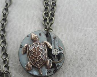 Sea Turtle Necklace, Turtle Steampunk Necklace, Steampunk Turtle Necklace, Animal Steampunk Jewelry, Vintage Watch Face Necklace, Steampunk