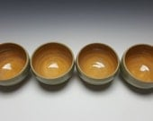RESERVED FOR LT. Handmade ice cream bowls by Potteryi. Unique gift set of 4 mustard interior bowls good for serving tea, ice cream, or rice.
