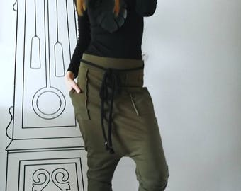 NEW Womens Drop Crotch Pants / Drop Crotch Harem Pants / Casual Harem Skinny Sweatpants by FabraModaStudio / P410