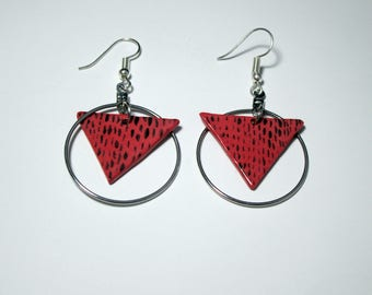 Red Triangle Ceramic Earrings //Perfect for someone that likes handmade gifts//Cute and Clay