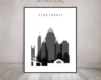 Cincinnati wall art, Cincinnati skyline, Cincinnati print, Black and White Poster, Ohio, City print, Travel gift, Home Decor, ArtPrintsVicky