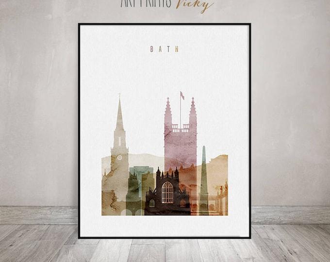 Bath print, Bath poster, Bath skyline, watercolor, Travel decor, England cityscape, Wall art, Travel gift, Home Decor, ArtPrintsVicky