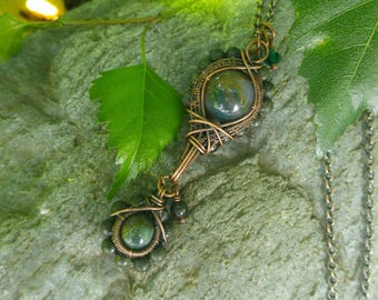 Agate and Serpentine: The Iris Collection // Wire Wrapped Gemstone Necklace