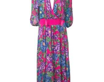 DIANE FREIS Vintage 1980s Pink Silk Floral Print Maxi Dress Fres Fries