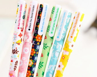 Set of 6 Floral Pens / Cute Gel Ink Pens / Cute Gel Pens / Kawaii Gel Pens / Cute Pens / Gel Ink Pens / Cute Stationery / School Supplies