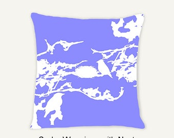 Purple - Birds in Tree Decorative Indoor Throw Pillow 14x14 - White and Purple (Cornflower)