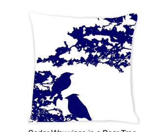 Blue - Bird in Tree Decorative  Indoor Throw Pillow 14x14 - Navy Blue and White