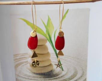 Red sequin gold chain earrings