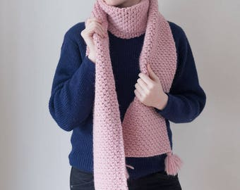 100% virgin wool pink chunky knit scarf with pom-poms, long winter scarf.
