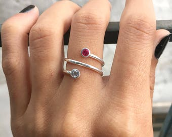 Dual Birthstone Ring, Couples Ring, Mothers Ring, Two Birthstone Ring, Personalized Gifts, For Her, Girlfriend Gift, Rose Gold Ring, Gift