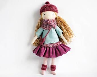 Handmade cloth doll, rag doll, pixie doll, OOAK dolls, birthday gift for girl, heirloom doll, keepsake toy, nursery decor, gift for her
