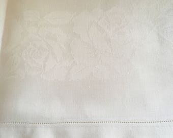 Vintage Linen Tablecloth, White Damask Hemstitched Tablecloth, Starched 78  X 62 Formal Tablecloth,