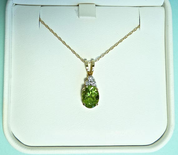 PERIDOT DIAMOND NECKLACE ~ 14K Gold Pendant Necklace ~ Oval Cut Peridot Topped With Three White Diamonds ~ 18 Inch 14K Gold Chain ~