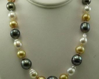 South Sea Multi-Colored Baroque Pearl Necklace 14K White Gold Clasp