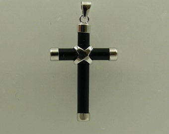 Black Onyx Cross Pendant with Sterling Silver