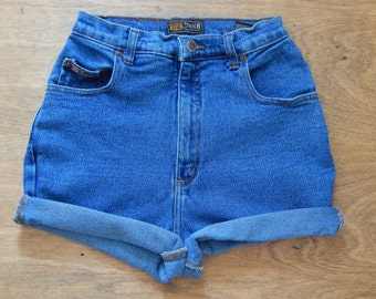 Vintage High Waisted Denim Route 66 Shorts SIZE 26 WAIST