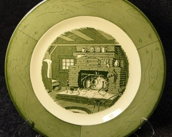 """Colonial Homestead Royal China Lunch Plate 9 1/4"""" Breakfast Fireplace Hearth EXCELLENT!"""