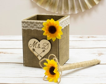 Burlap Pen Holder Sunflower Wedding Burlap Pen Rustic Pen Twine wrapped Pen Guest book Pen rustic Wedding Pen