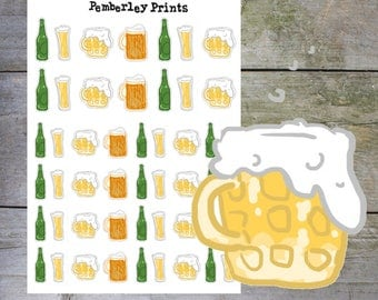 Beer/Lager Stickers // Hand Drawn Beer Alcohol Planner Stickers Perfect for Planners and Scrapbooks // HD15