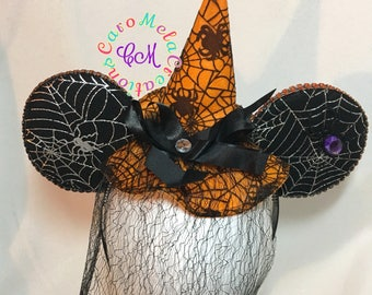 Halloween Witch Inspired Mouse Ears, Spider, Spider Web, Witch Hat, Not So Scary, Custom Ears