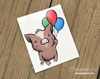 """Vinyl Decal Cute Little Pig """"Balloons"""" Piggy Die Cut Art Indoor/Outdoor Chotto Sukoshi Buta Mini Pig Pigxel Art"""