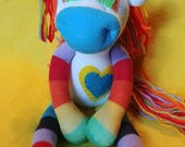 "Iris - 13.5"" Sock Unicorn Plush - Handmade Plush Doll"
