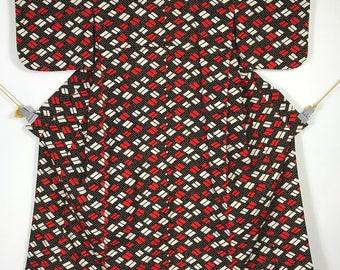 KM395 Vintage Japanese Yukata Kimono Womens Cotton Red