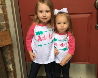 Girls personalized valentine shirt, girls pink ombre name shirt,