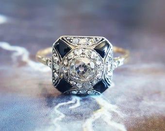 Antique Engagement Ring | Edwardian Engagement Ring | Vintage Engagement Ring | Diamond Halo Ring | Onyx Ring | Art Deco Engagement Ring