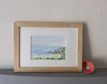 Original watercolor, Basques beach, Biarritz, Atlantic Ocean, holidays, summer, Basque Country