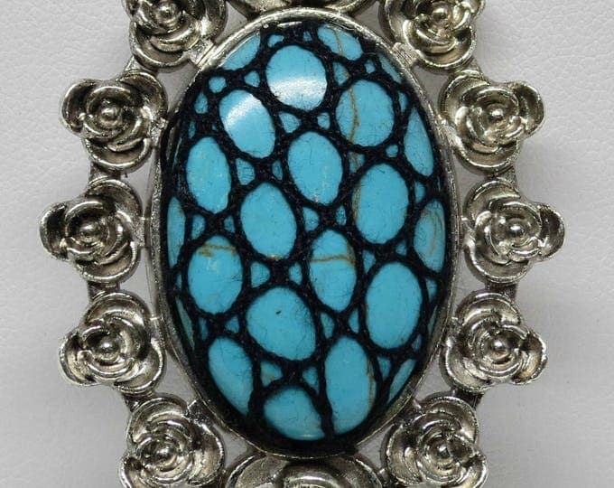 Featured listing image: Bobbin Lace Pendant: Blue Stone with Black Silk Overlay, Complimentary Black Cord