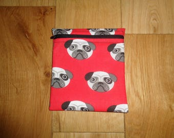 Snack Bag - Bikini Bag - Lunch Bag - Make Up Bag Red Pug Dog Puppy Poppins Waterproof Lined Zip Pouch - Sandwich bag - Eco -