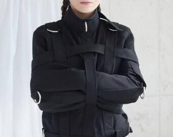 Black Heavy Duty Straitjacket - Restraining Bondage Straitjacket / BDSM / THICC / BONDAGE