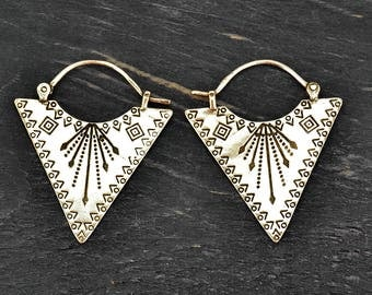 Silver Geometric Earrings, Triangle Earrings, Tribal Earrings, Silver Earrings, Ethnic Earrings, Boho Earrings, Geometric Jewelry