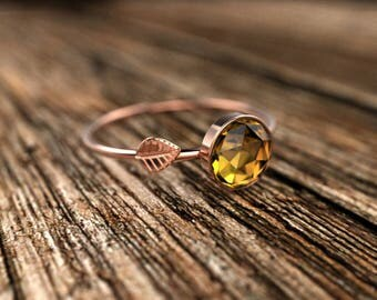 Rose Gold Rose Cut Citrine Engagement Ring Rose Gold Citrine Ring Citrine Engagement Ring Citrine Ring November Birthstone Ring