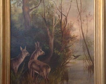 An American Victorian Painting of Fall Wildlife Scene Roe Deer & a Snipe after a European Study Unsigned Primitive Oil on Canvas c 1890