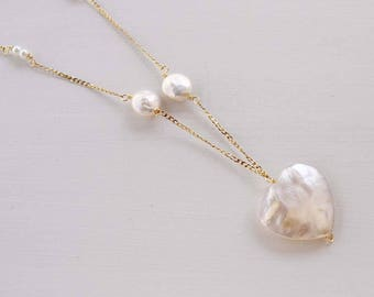 Pearl necklace, pearl necklace, pearl necklace, heart pendant necklace, heart of pearl necklace, Long necklace