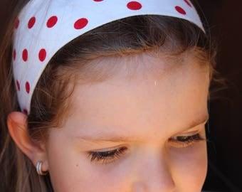 Valentine headband for girls, stretchy cotton cloth headband, polkadot girl headband, red and white headband, valentine girl headband