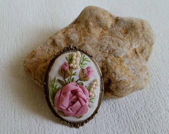 """OOAK Embroidered Brooch """"Tender Rose"""" Embroidery silk ribbon Vintage Brooch Embroidered Jewelry"""