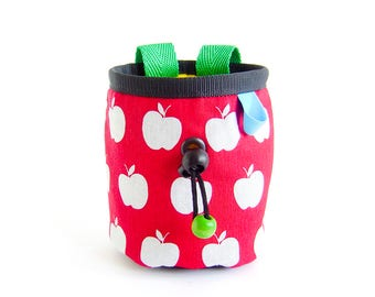Rock Climbing Chalk Bag - Kids. Child Chalkbag. Mini Chalk Bag, Chalkbag Kinder - Apples, Handmade, S Size