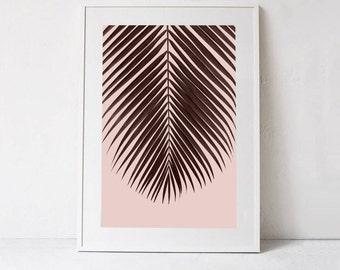 Blush Pink Art Print, Palm Leaf Poster Print, Tropical Leaf Printable Art, Blush Pink Wall Decor Print, Blush Pink Wall Art INSTANT DOWNLOAD