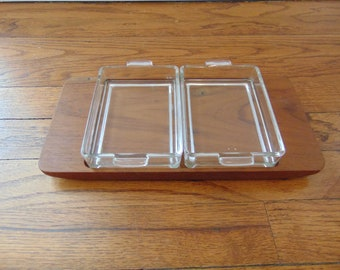 Frederik Lunning Inc Serving Tray with Holmegaard Glass Inserts Denmark