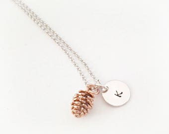 Pine cone necklace, initial necklace, pine cone initial necklace, pine cone necklace, disc necklace, handstamped, personalized disc necklace