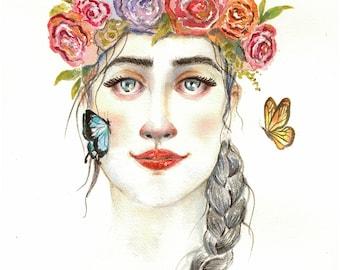 Watercolor Spring in Bloom Painting, Flower Girl, Butterfly Painting, Botanical, Watercolor Flowers, Watercolor Eyes