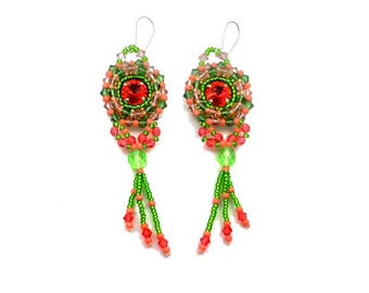 Embroidered baroque style peridot and erinite green salmon pink Silver earrings