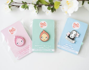 "3 pins bundle ""Kawaii Ghibli"" - Calcifer, No Face, kaonashi, enamel pin, Miyazaki, Spirited away, Howl's moving castle, japanese cute kawaii"